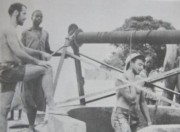 Geoffrey (the bearded one), building a well in Djembering in 1964
