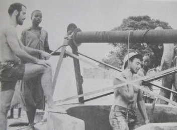 Geoffrey (the bearded one), building a well in Djembering in 1964