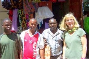 Bashir, wanume wawili (2 men) of kanga shop, and mzungu(me!)