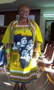 Shani of Tanzania in kanga of African leaders